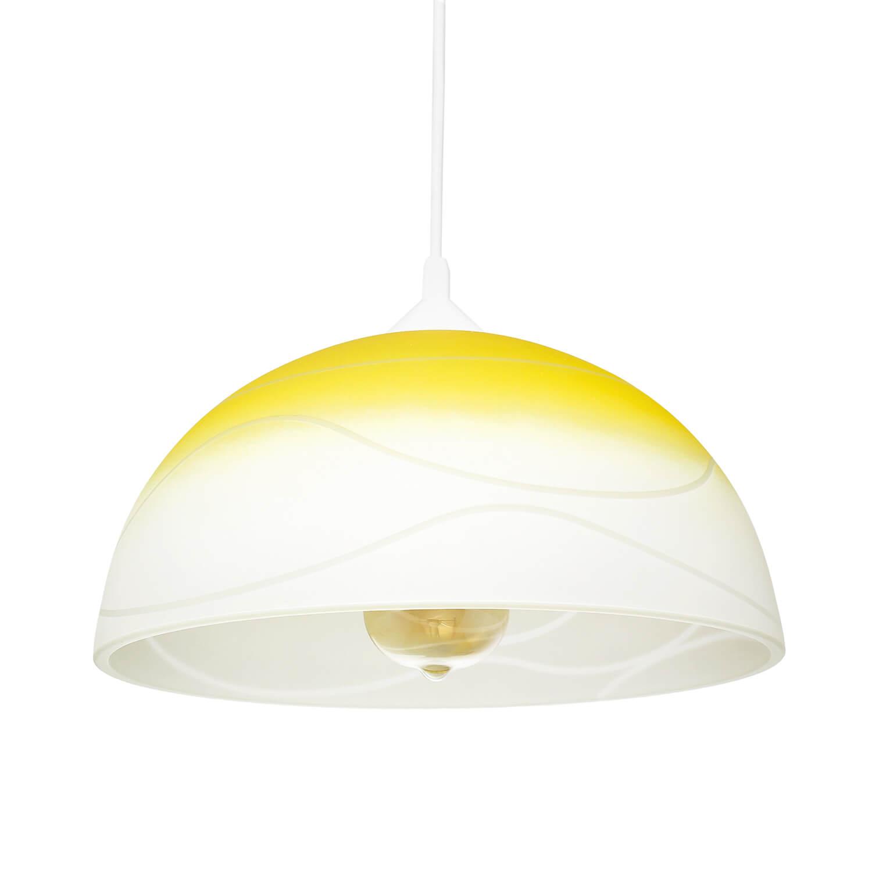 Pendelleuchte Wohnzimmer Esstisch Gelb Glas rund