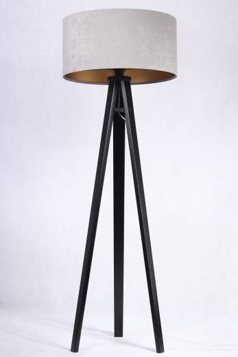 Stehlampe JERRY Grau Gold 145cm Retro Wohnzimmer