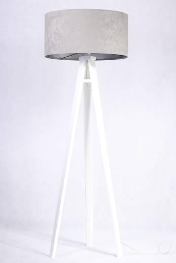 Weiße Stehlampe Grau Silber Retro 145cm Wohnzimmer