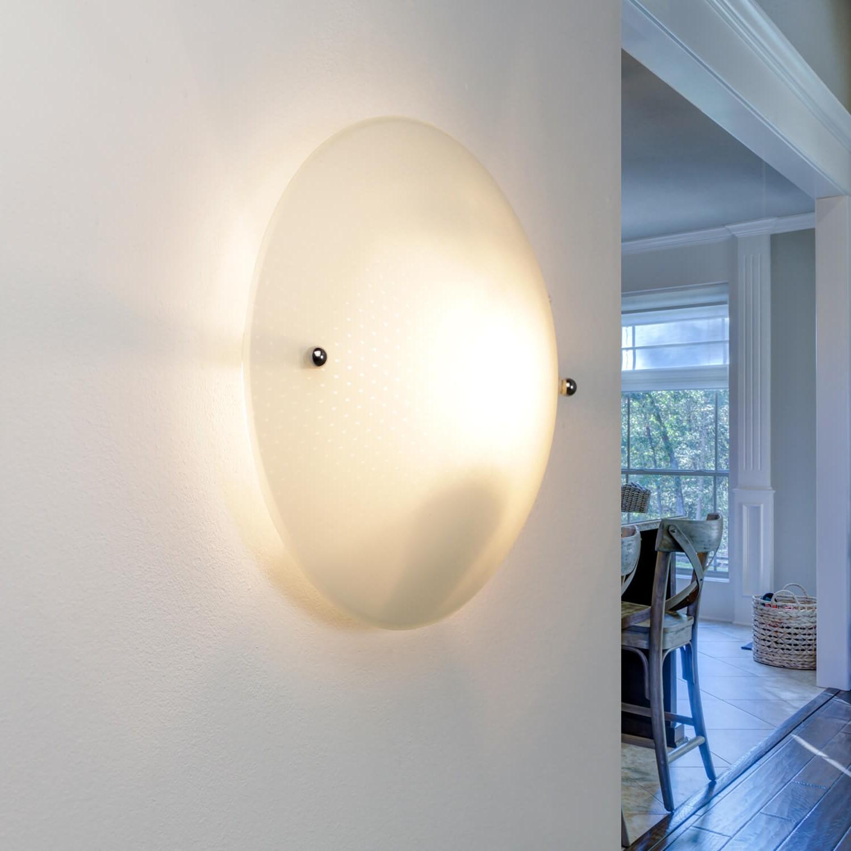Runde Deckenlampe Glas rund Ø25cm flach Wohnzimmer