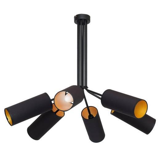 Deckenlampe Stoff Schirm Schwarz Gold 6-flammig