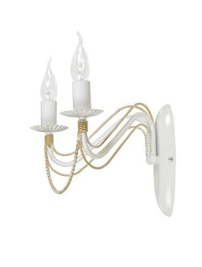 Wandleuchter Weiß Gold Rustikal 2-flammig E14