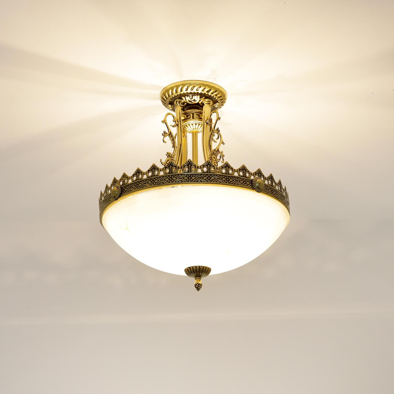Jugendstil Deckenlampe Messing Antik 3xE27 ALMUTH