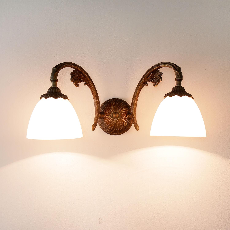 Wandlampe Beatrice Bronze Antik 2-flmg aus Messing