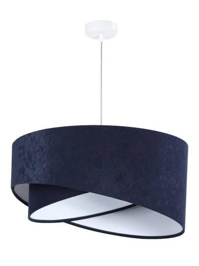 Pendelleuchte Schirm Blau Weiß Stoff rund Ø50cm