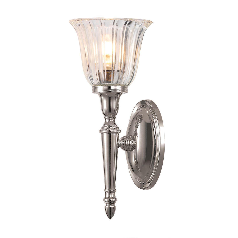 LED Messinglampe Badezimmer in Nickel IP44 rostfrei