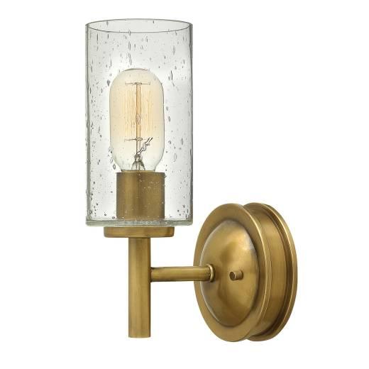 Wandlampe mit Schirm Regenglas Metall in Messing