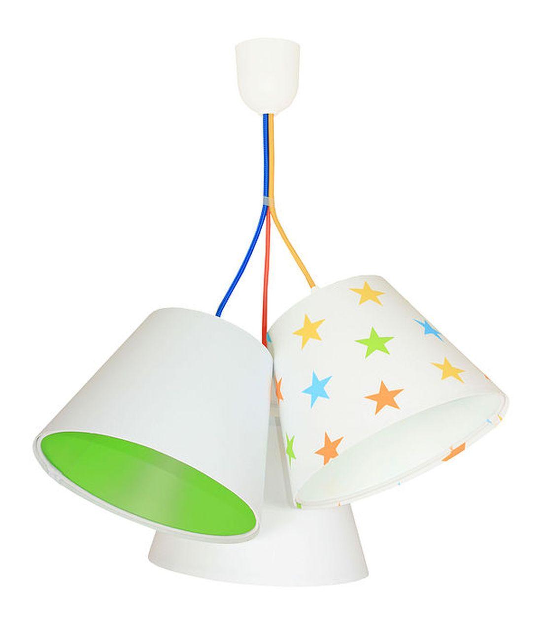 Hängeleuchte Kinderlampe Weiß Grün Sterne Stoff