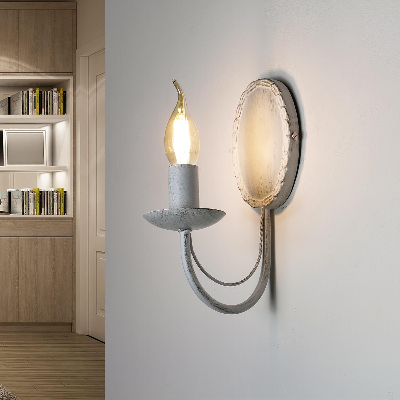 Wandleuchte Weiß Rustikal Metall Wohnzimmer  WIOLETTA