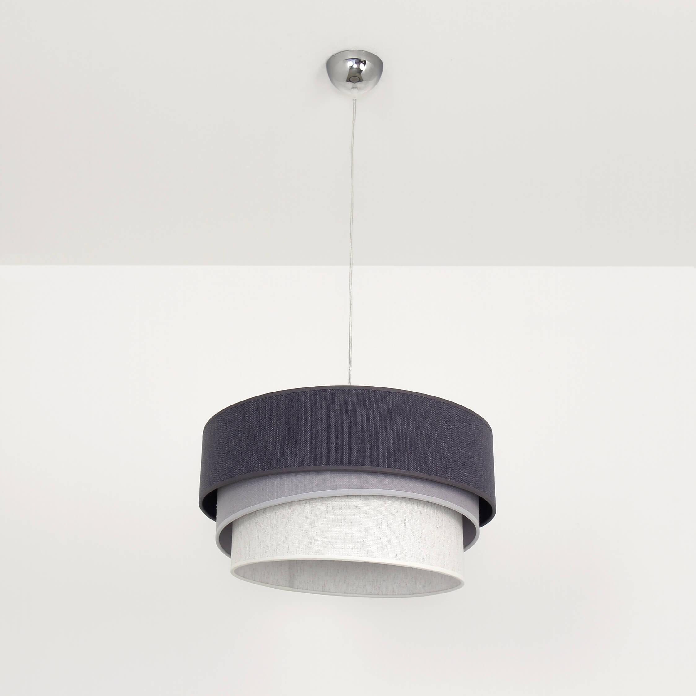 Graue Pendelleuchte Stoff Ø45cm modernes Design