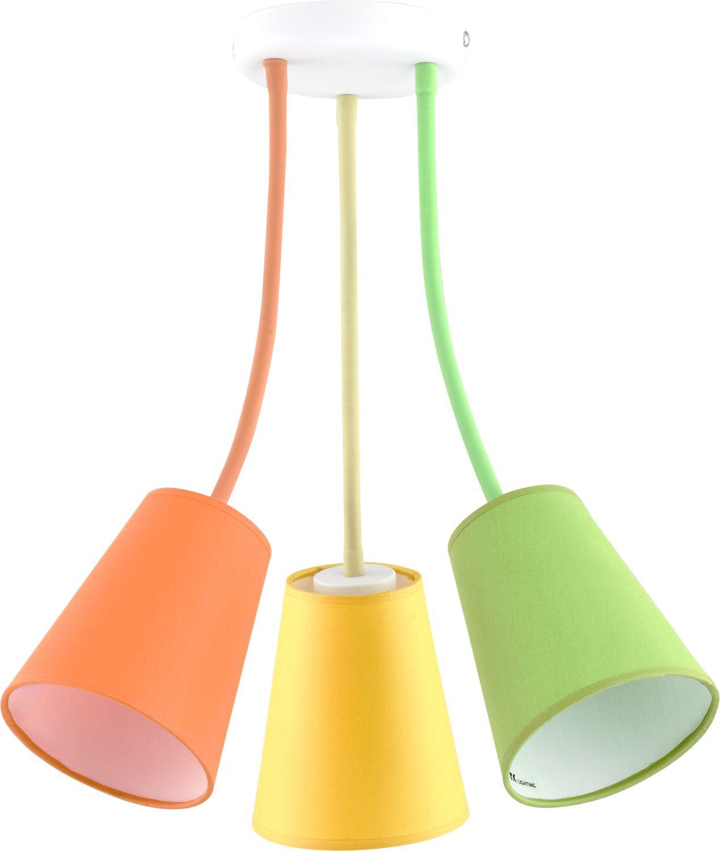 Bunte Deckenlampe 3-flmg Orange Gelb Grün flexibel