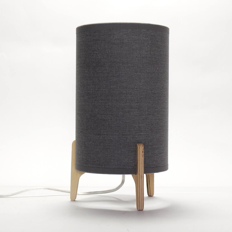 Stoff Tischleuchte Grau 25cm hoch Modern ALICE