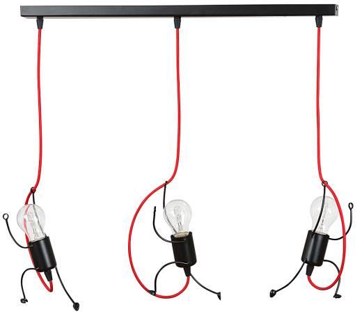 Verspielte Kinderzimmerlampe MOLLY Schwarz Rot