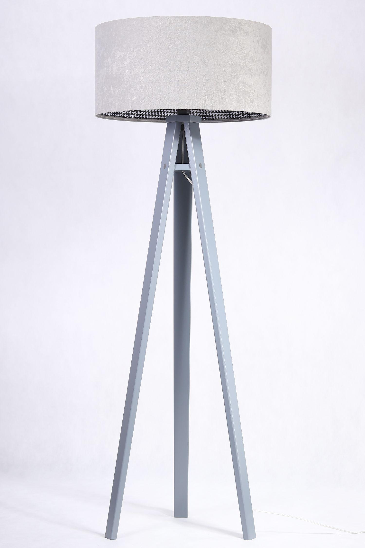 Stehlampe CHRISTIAN Grau Retro Hahnentritt 145cm