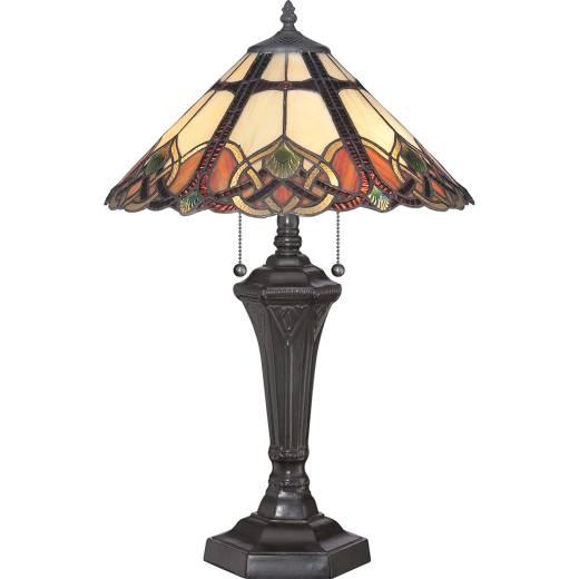 Tischlampe Tiffany Stil Zugschalter 60cm hoch ETERNO 2