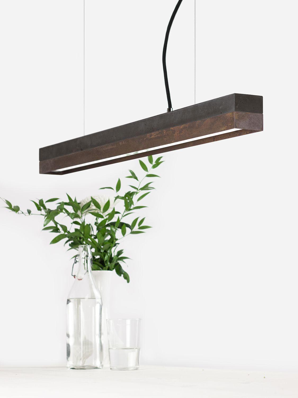 Premium LED Hängelampe Beton Rost Modern länglich