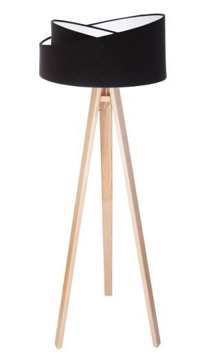 Stehlampe Wohnzimmer Holz Schwarz Weiß Dreibein