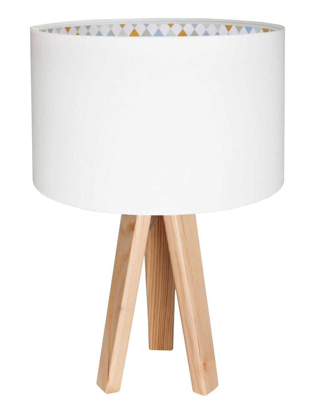 Tischlampe SORAJA Weiß Rauten Kinder Dreibein 46cm