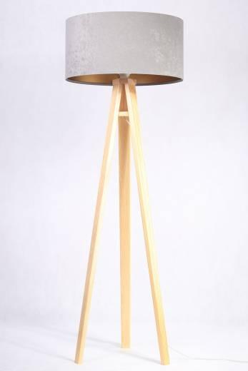 Stehlampe Grau Gold Dreibein 145cm Retro Wohnzimmer