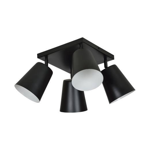 Flexibler Deckenstrahler Schwarz Metall 4-flammig