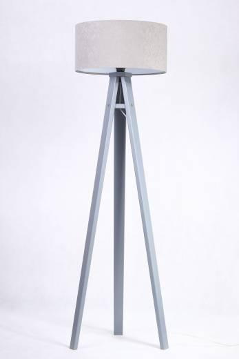 Stehlampe JERRY Grau Silber Holz 140cm Dreibein Retro