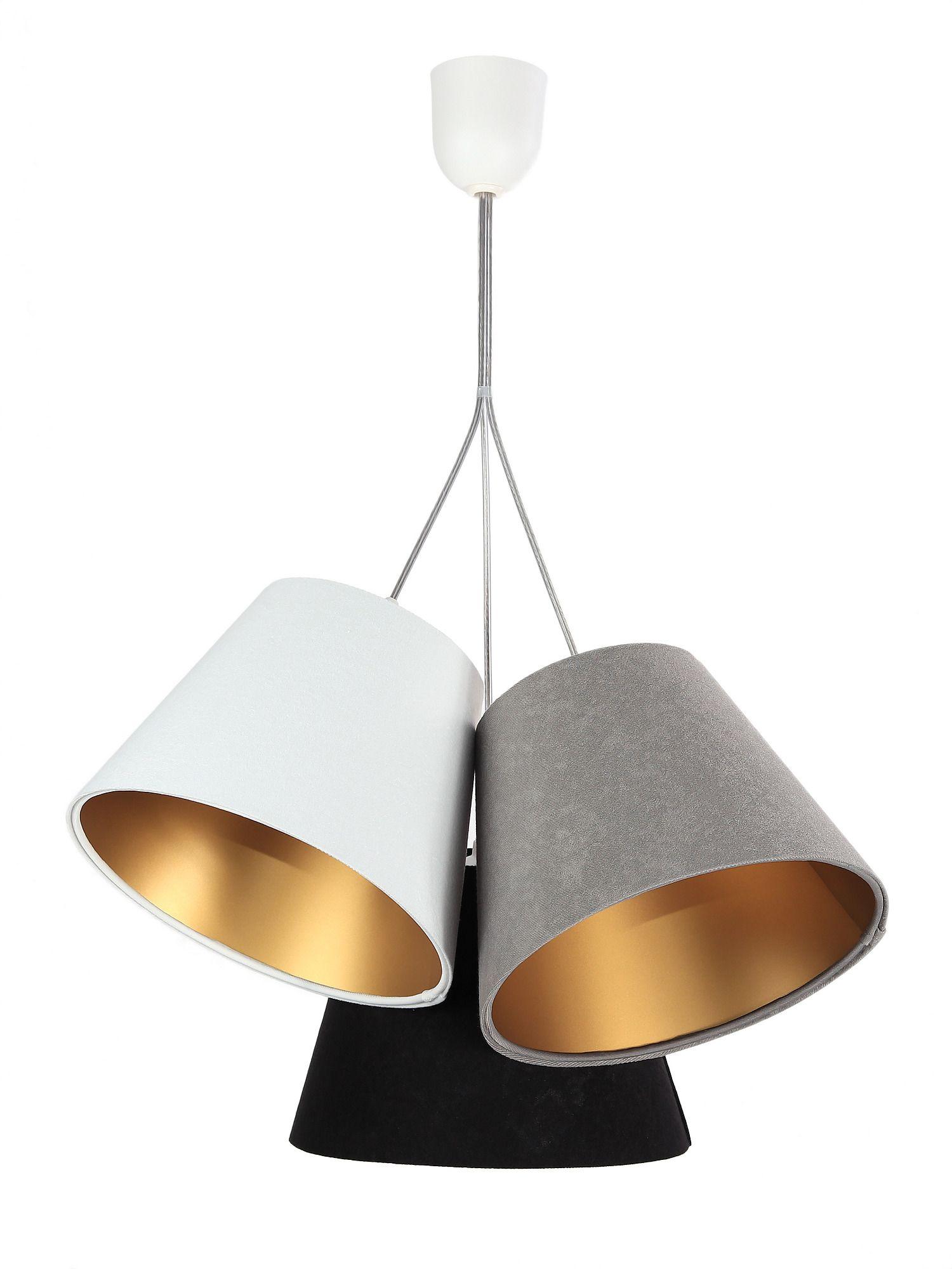 Hängelampe Grau Gold Schwarz Stoff Wohnzimmer