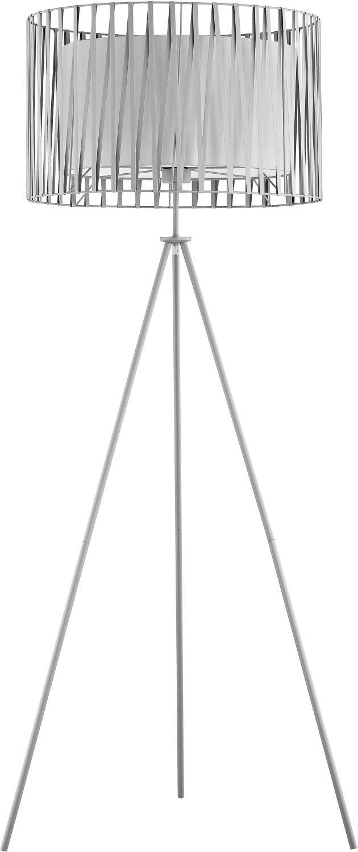 Stehlampe Dreibein 145cm Grau Metall Schirm ∅61cm