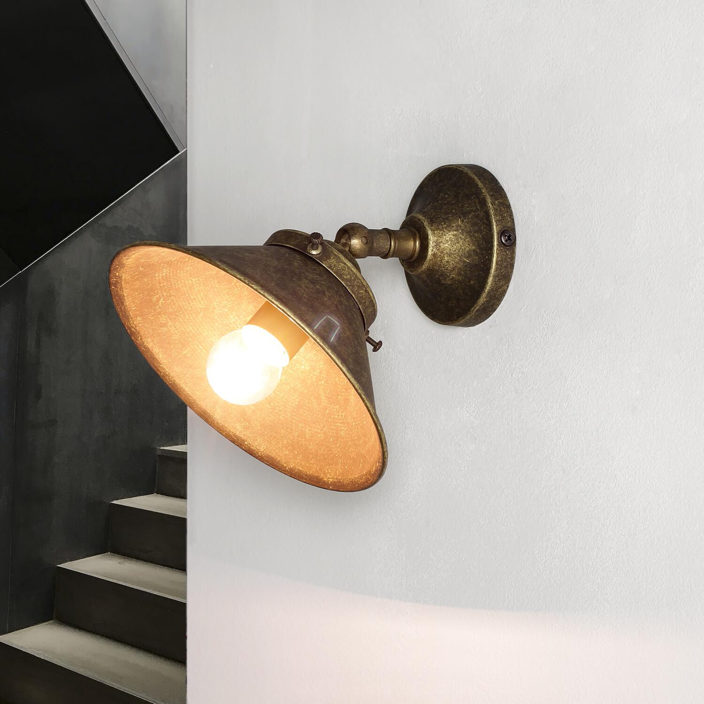 Messing Wandlampe in Bronze antik verstellbar