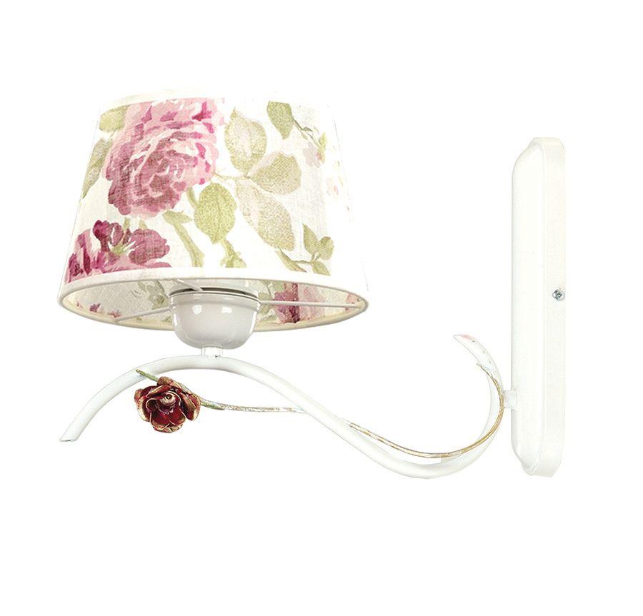 Wandlampe Landhausstil Weiß Stoff Schirm Rosen E27
