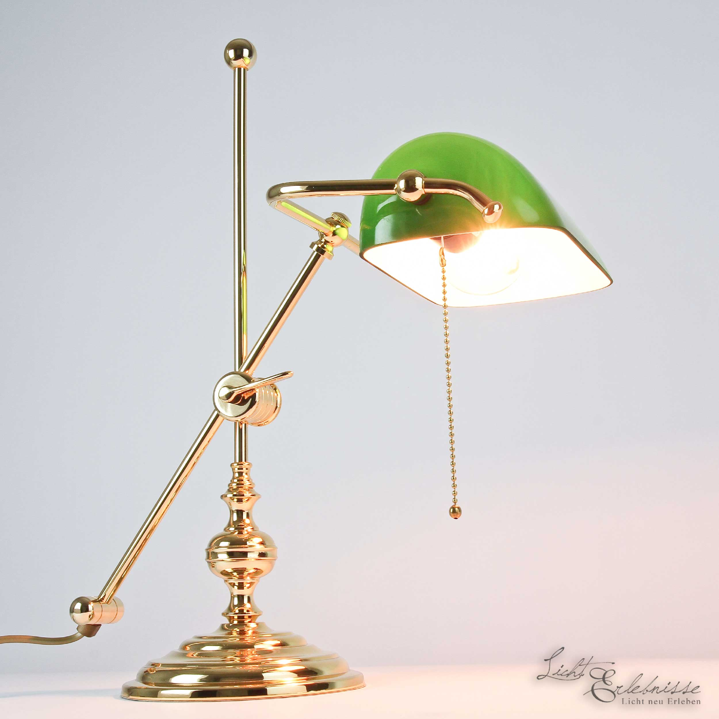 Bankerlampe Vergoldet 24 Karat aus Echt-Messing