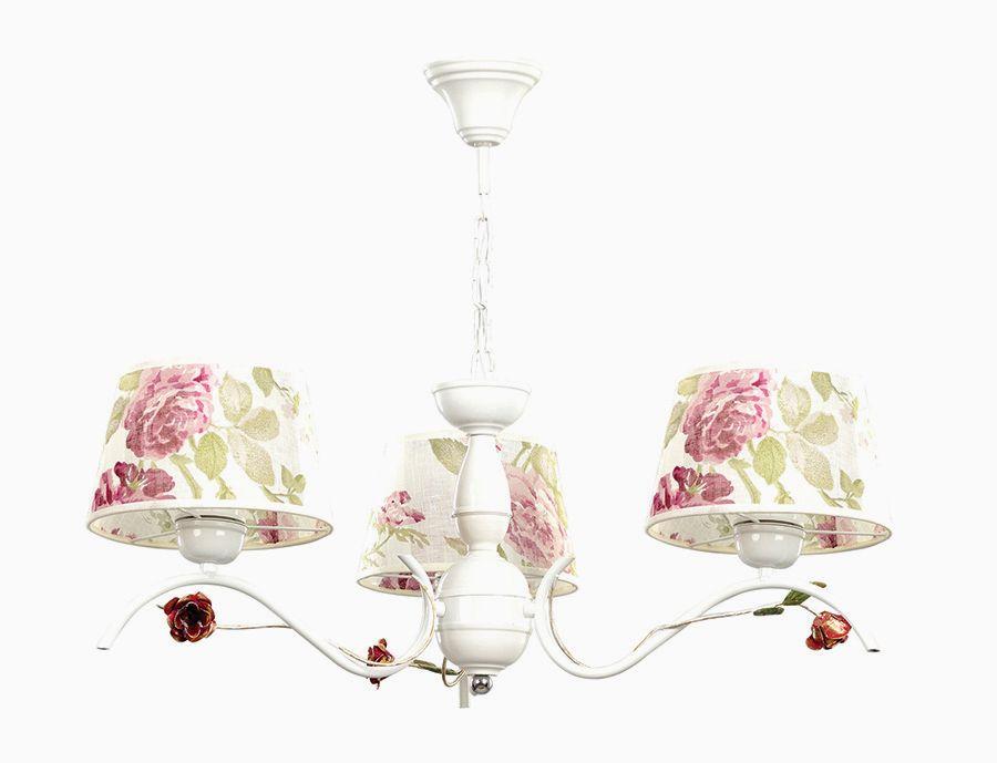 Hängelampe Landhausstil Stoff Weiß Rosen 3-flammig