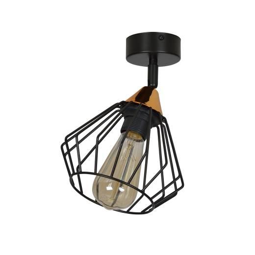 Käfiglampe Wand Decke Schwarz Kupfer Metall Gitter