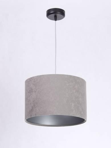 Pendelleuchte rund Weiß Grau Silber Stoff Esstisch