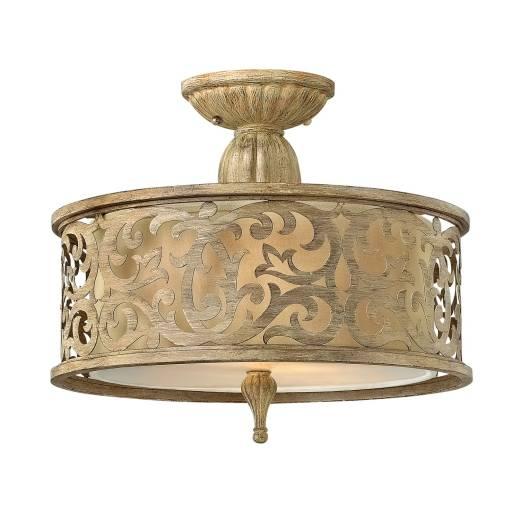 Deckenlampe in Creme Metall Leinen rund Wohnzimmer
