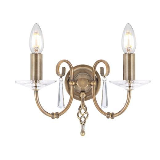 Premium Wandlampe in Messing antik mit Kristall