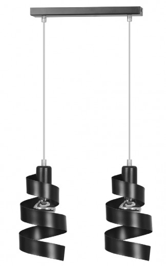 Design Hängelampe Schwarz Metall 2-flammig E27