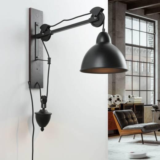 Verstellbare Wandlampe Industrie Design Holz Metall