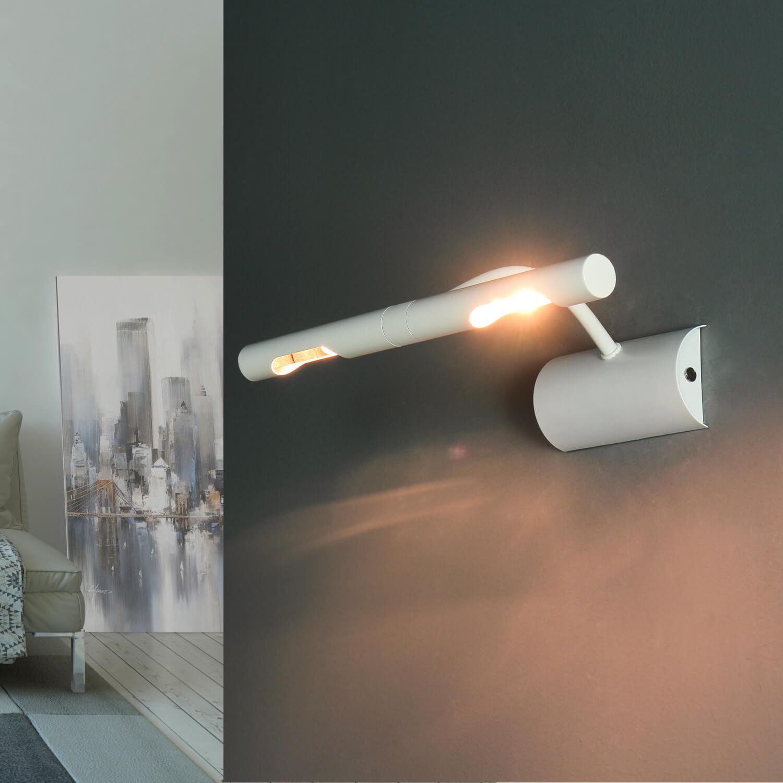 Bilderleuchte Weiß 2x G9 Metall Wand Wohnzimmer