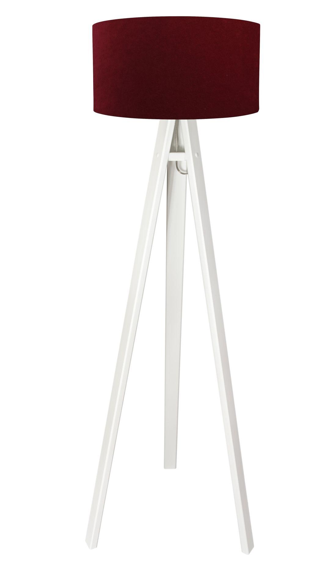 Stehlampe Weiß Schirm Rot Silber Retro Dreibein 140cm