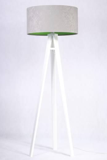 Stehlampe Holzleuchte Grau Grün Wohnzimmer Dreibein