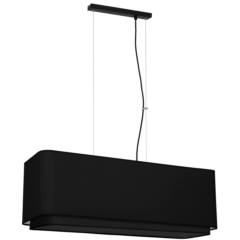 Schwarze Pendelleuchte Stoffschirm L:80cm Esstisch