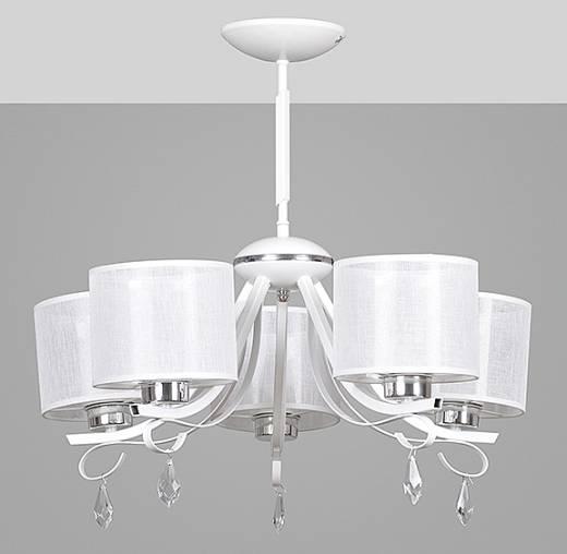 Kronleuchter Weiß Kristall Stoff Schirm 5-flammig