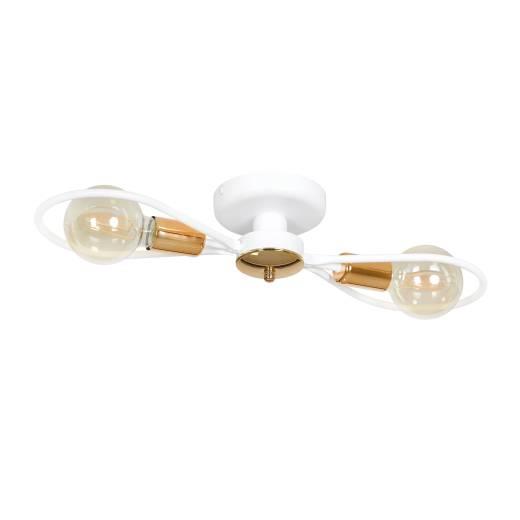 Deckenlampe RYAN Weiß Kupfer flach Flur Wohnzimmer