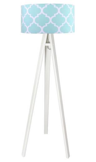 Weiß Blau Stehlampe Dreibein 140cm Retro Wohnzimmer