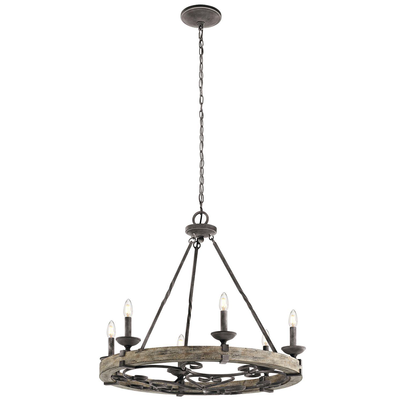 Kronleuchter CAMELOT 8 Holz Zink Ø72cm Lampe