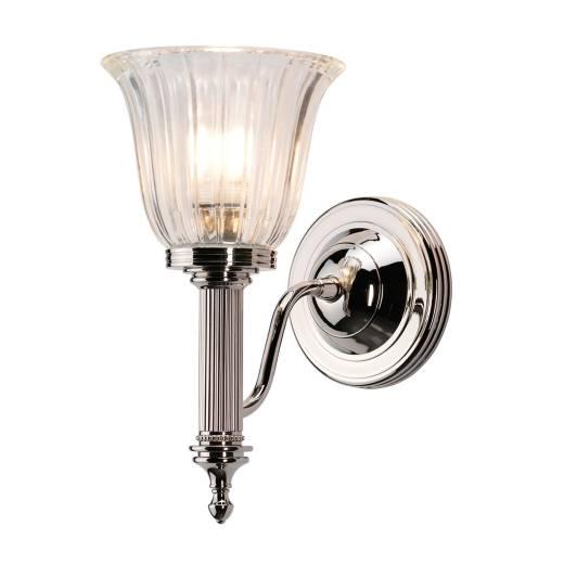 Designer Wandlampe Badezimmer aus Messing in Nickel