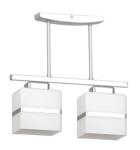Deckenlampe Weiß Chrom Glas Schirm eckig 2-flammig