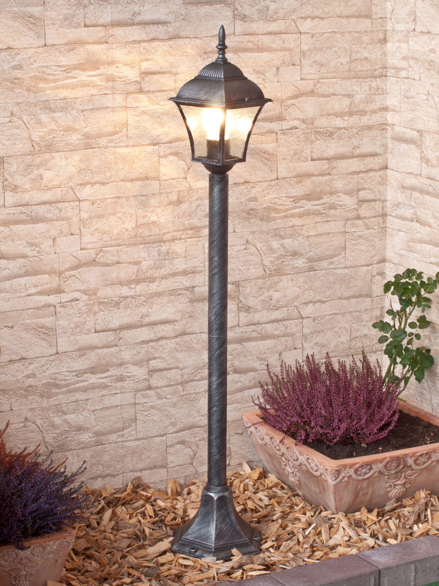 Außen Stehlampe in Silber Antik E27 106cm TOSCANA
