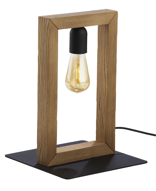 Tischlampe HAZO Holz Metall eckig H:35cm Leuchte