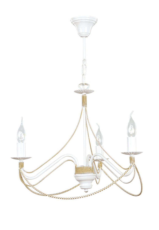 Kronleuchter Metall Weiß Gold Ketten 3-flammig E14